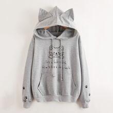 Hoodie mit Katze und Buchstaben Muster