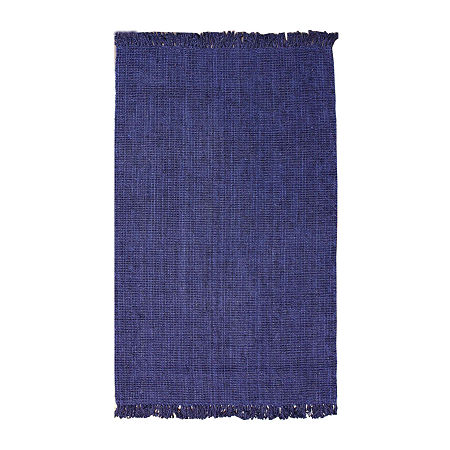 nuLoom Hand Woven Chunky Loop Jute Rug, One Size , Blue