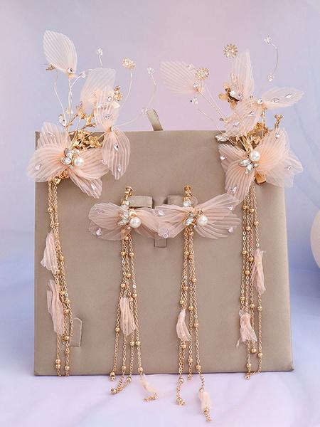 Milanoo Conjunto de joyas para pendientes de perlas de boda con sombreros