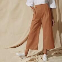 Pantalones recortados de pierna ancha con fruncido con bolsillo oblicuo