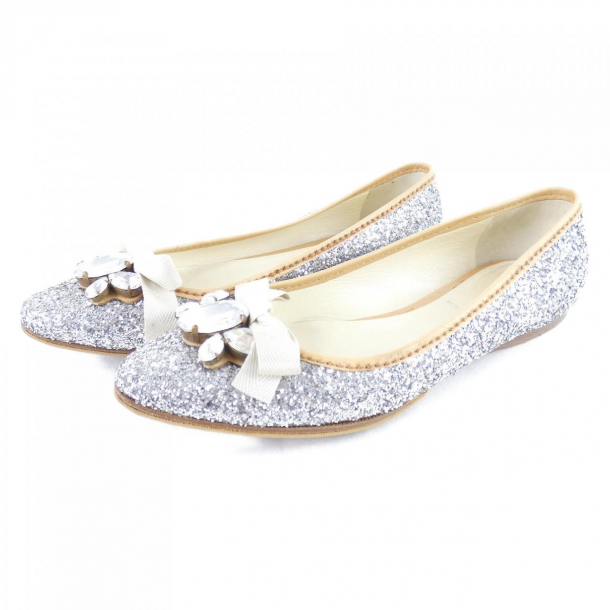 Miu Miu \N Silver Glitter Ballet flats for Women 36 EU