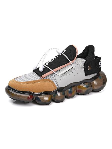 Milanoo Zapatillas de deporte para hombre, gris, moda, malla, punta redonda, ilustraciones