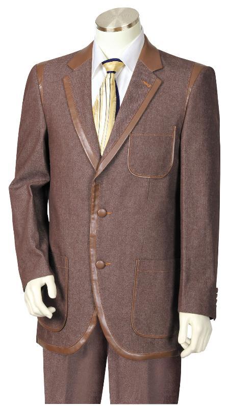3 Button Suit Wide Leg Pants Wool feel Brown Trousers Suit Jacket