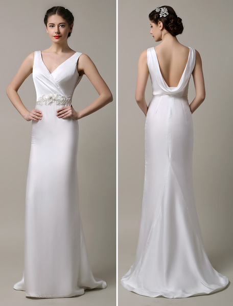 Milanoo Ivory Satin Deep V-neck and Cowlback With Embellished Sash Wedding Dress