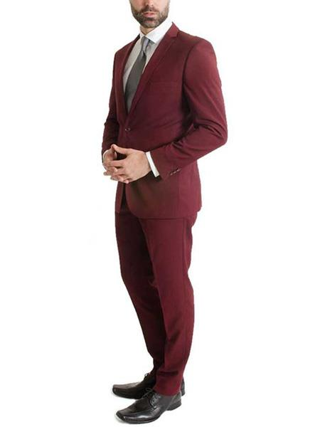 Men's 2 Piece Slim Fit One Button Notch Lapel Burgundy Suit