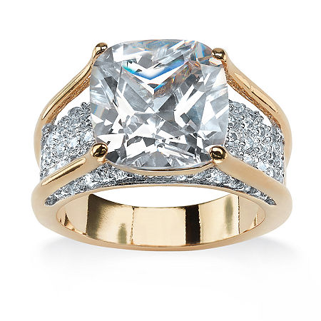 Womens 5 CT. T.W. White Cubic Zirconia 18K Gold Over Brass Engagement Ring, 10 , No Color Family