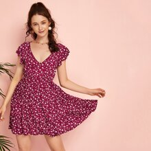 Ditsy Floral Ruffle Hem Dress
