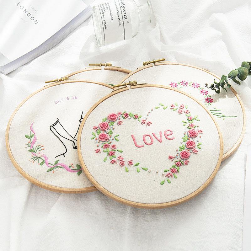 Lover Heart Printed DIY European Embroidery Kits Handmade Beginner Needlework Art Sewing Package