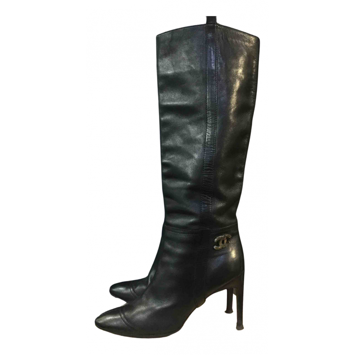 Chanel N Black Leather Boots for Women 37.5 EU