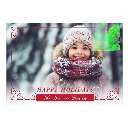 20 Pack of Gartner Studios® Personalized Attractive Border Christmas Flat Photo Card in Red | 5