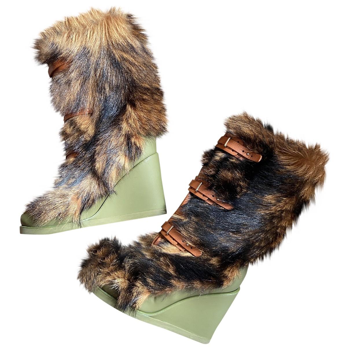 Celine N Brown Shearling Boots for Women 38 EU