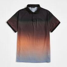 Polo Shirt mit Farbverlauf und halber Knopfleiste