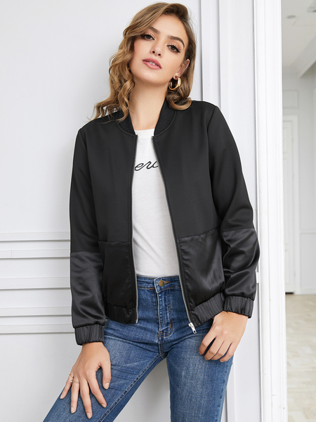 Yoins Black Patchwork Stand Collar Jacket