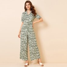 All Over Print Button Front Shirt Jumpsuit