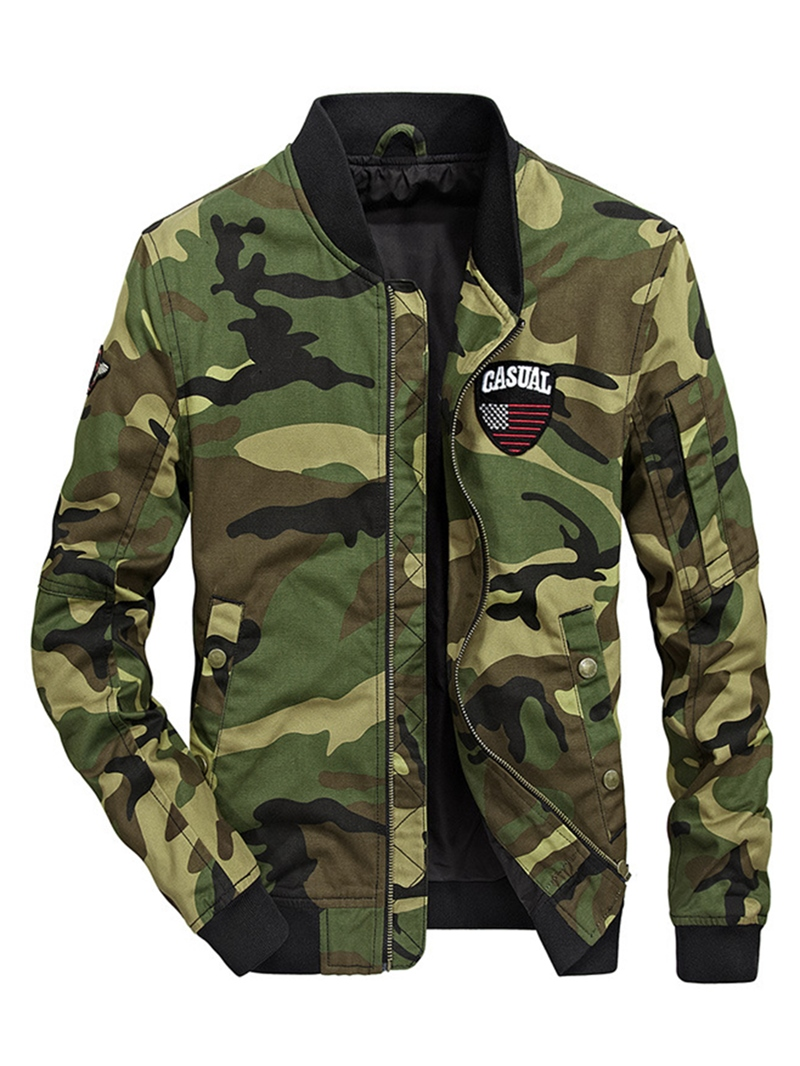 Ericdress Camouflage Cotton Zipper Stand Collar Casual Slim Mens Jacket