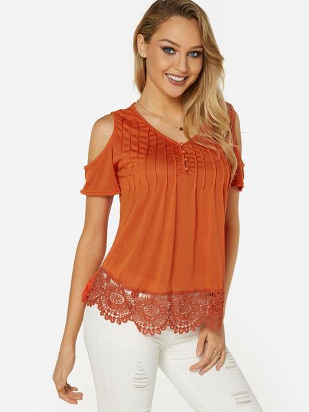 Yoins Orange Cold Shoulder Short Sleeves T-shirt With Lace Hem