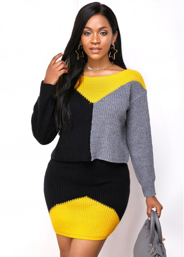 Cocktail Party Dress Long Sleeve Round Neck Color Block Sweater Dress - S