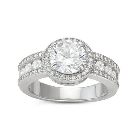 DiamonArt Womens 3 CT. T.W. Lab Created White Cubic Zirconia Sterling Silver Halo Cocktail Ring, 6 , No Color Family