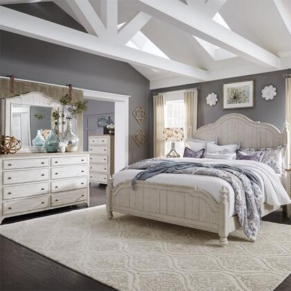 Liberty Furniture 652-BR-QPSDMC 4 Piece Bedroom Set with Queen Size Poster Bed  Dresser and Mirror  Chest in Antique White