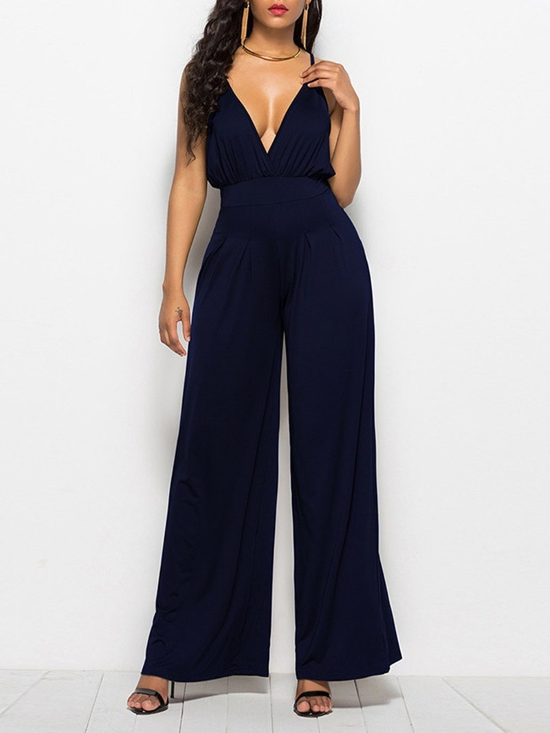 Ericdress Full Length Strap Plain Wide Legs Loose Women's Jumpsuit