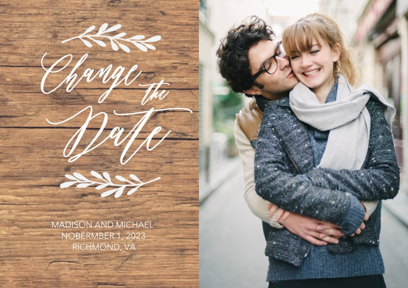 Change the Date 5x7 Cards, Standard Cardstock 85lb, Card & Stationery -Change the Date Woodgrain by Tumbalina