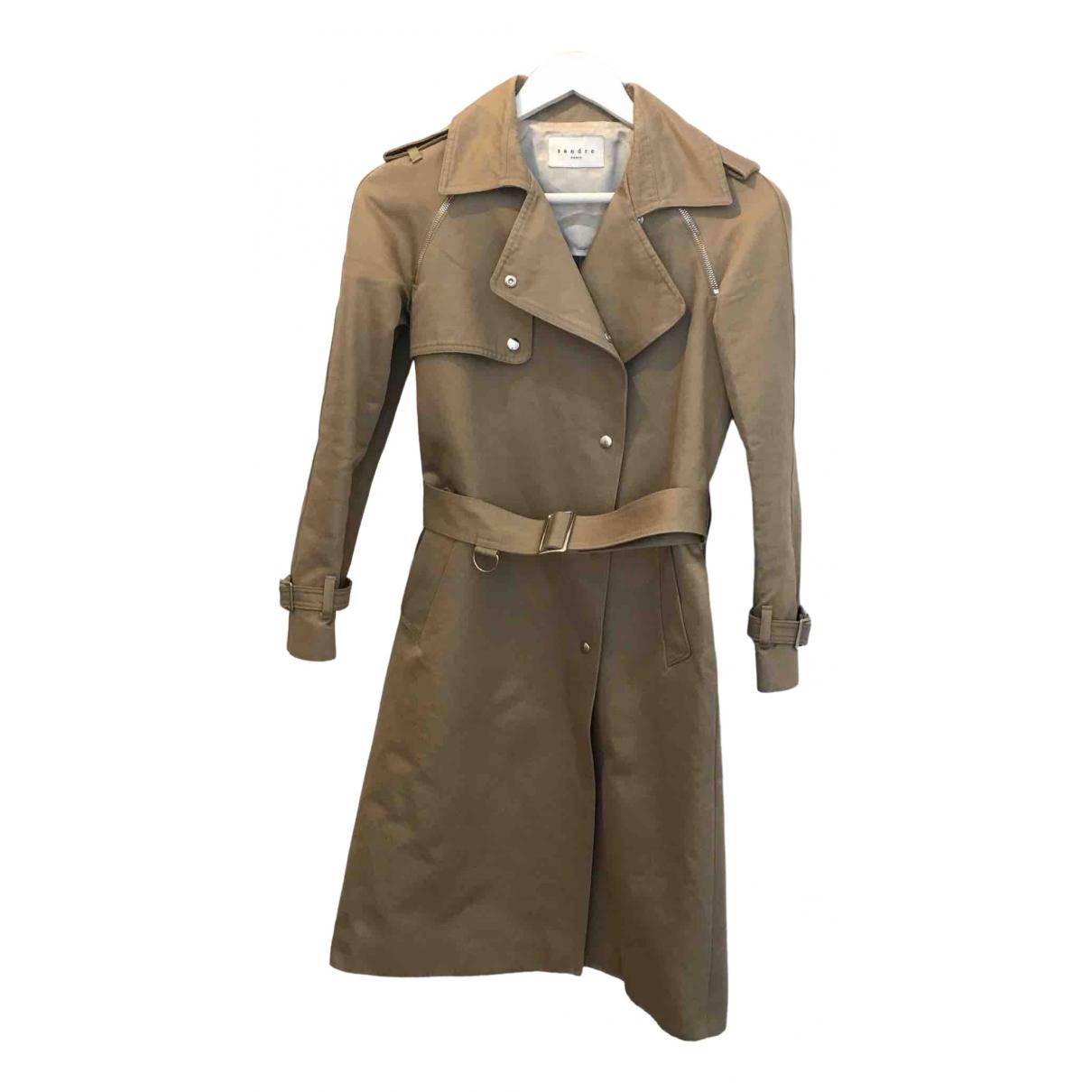 Sandro \N Beige Cotton coat for Women 36 FR