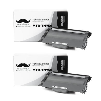 Compatible Brother TN750 Black Toner Cartridge by Moustache, 2 Pack - High Yield