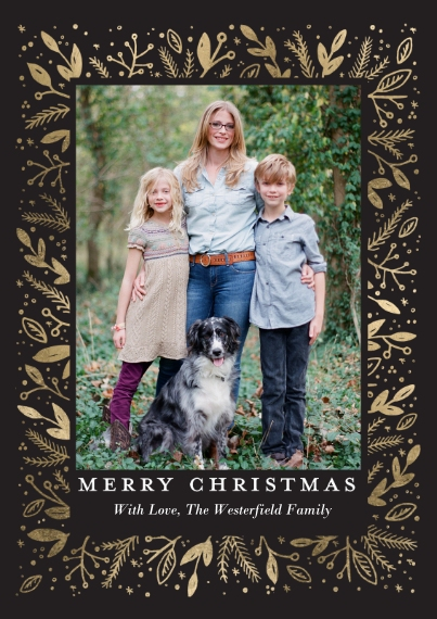 Christmas Photo Cards Flat Matte Photo Paper Cards with Envelopes, 5x7, Card & Stationery -Christmas Elegant Foliage