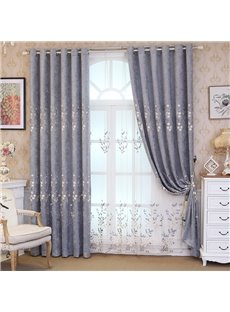 Floral Embroidered Grommet Semi Sheer Curtains for Living Room