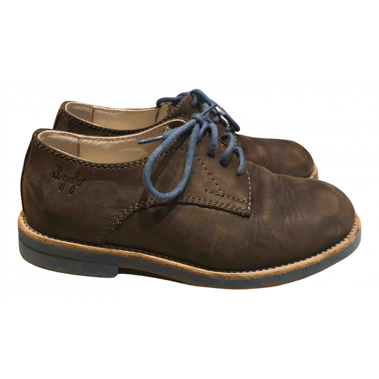 Il Gufo N Brown Leather Lace up boots for Kids 27 FR