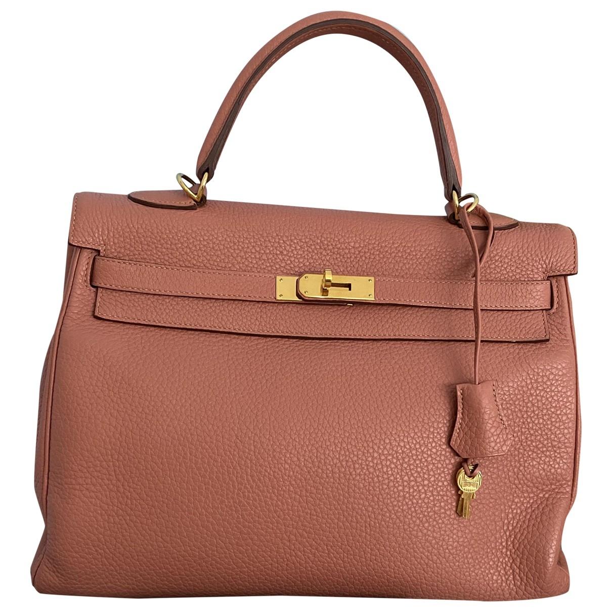 Hermes Kelly 35 Handtasche in  Rosa Leder