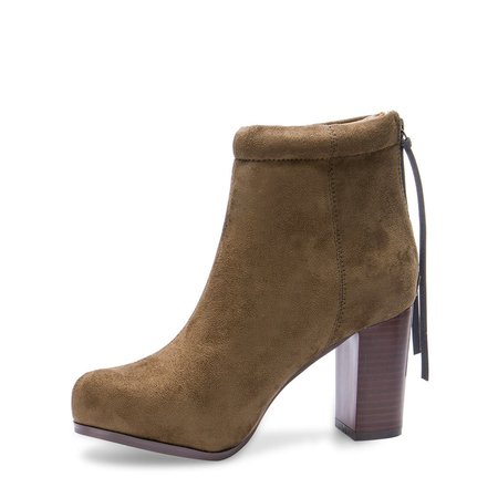 Yoins Suede High Ankle Boots in Khaki
