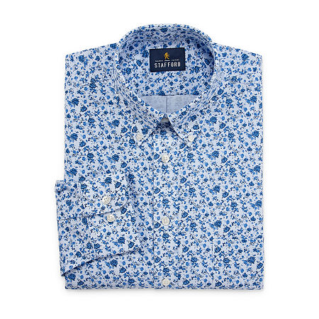Stafford Mens Wrinkle Free Oxford Button Down Collar Fitted Dress Shirt, 17.5 36-37, Blue