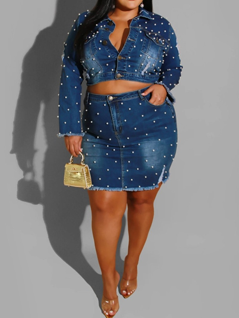 Ericdress Plus Size Pocket Mandarin Collar Single-Breasted Two Piece Sets