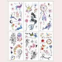 6 piezas pegatina tatuaje con patron floral con mariposa