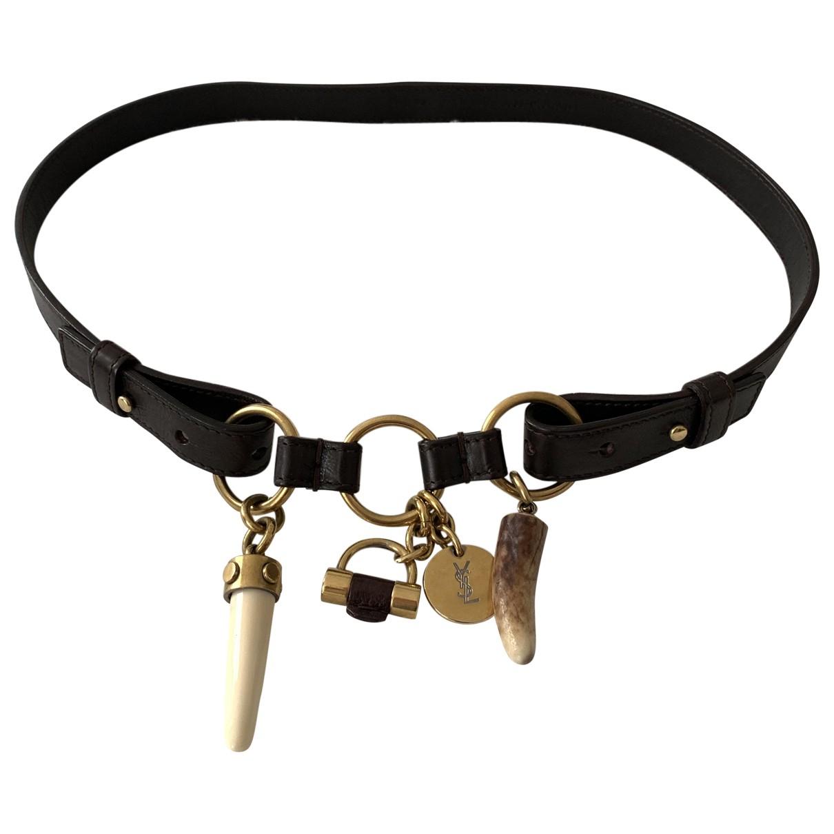 Yves Saint Laurent \N Brown Leather belt for Women 80 cm