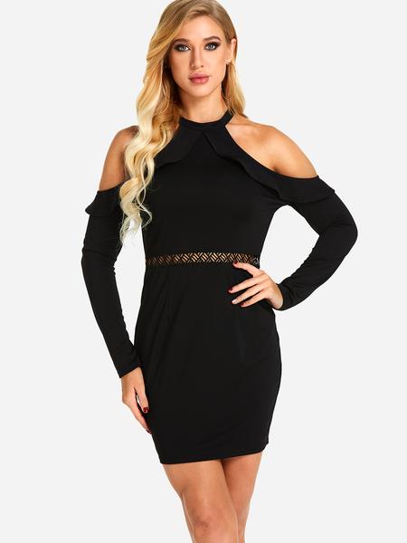 Yoins Black Hollow Design Cold Shoulder Long Sleeves Dress