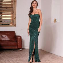DKRX Zip Back Slit Hem Sequin Tube Prom Dress