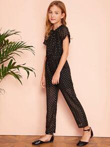 Girls Pompom Trim Gold Print Jumpsuit