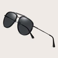 Men Top Bar Aviator Polarized Sunglasses