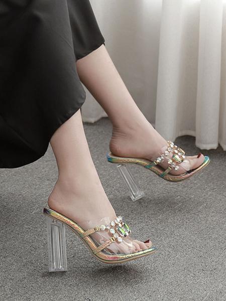 Milanoo Luxury Adorned Transparente Slippers Iridescent Peep Toe Clear Chunky Heel Slides