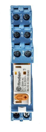 Finder , 230V ac DPDT Interface Relay Module, Screw Terminal , DIN Rail