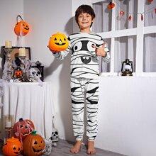 Conjunto de pijama top con estampado de dibujos animados con pantalones