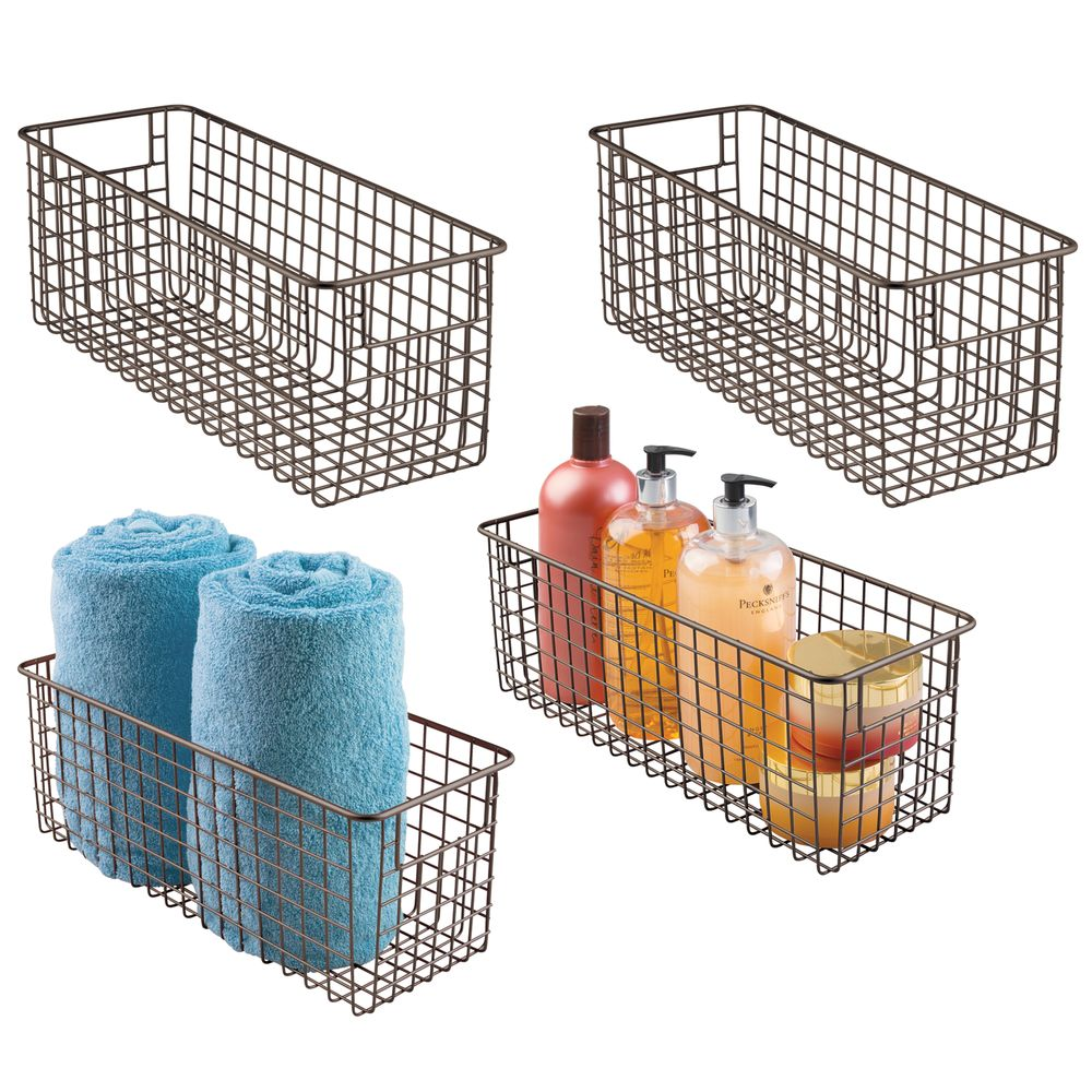 Deep Metal Wire Bathroom Vanity Storage Basket in Bronze, 16 x 6 x 6, Set of 4, by mDesign