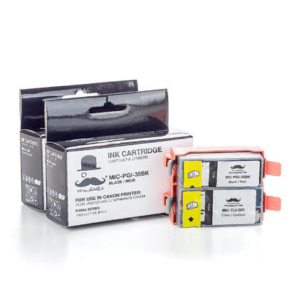 Compatible Canon PIXMA iP110 Ink Cartridges Black and Colour Combo by Moustache, 2 pack