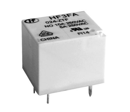 Hongfa Europe GMBH , 24V dc Coil Non-Latching Relay SPDT, 10A Switching Current PCB Mount Single Pole (5)