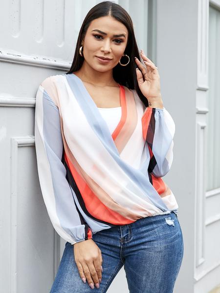 YOINS Multicolor Crossed Front Design Striped V-neck Long Sleeves Blouse