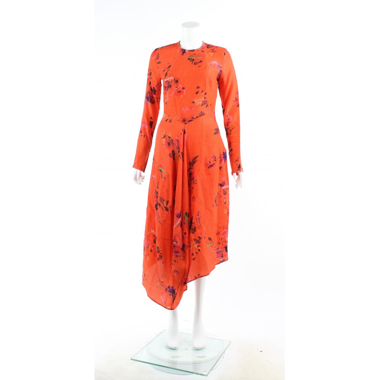 Preen By Thornton Bregazzi \N Kleid in  Orange Seide