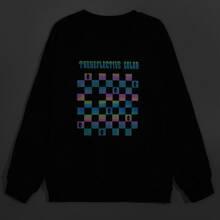 Guys Reflective Gingham & Letter Sweatshirt