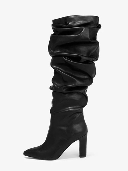 Milanoo Black Slouch Boots Women PU Leather Black Pointed Toe Chunky Heel Knee High Boots
